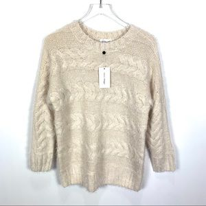 Lovers + Friends Revolve fuzzy cable knit sweater